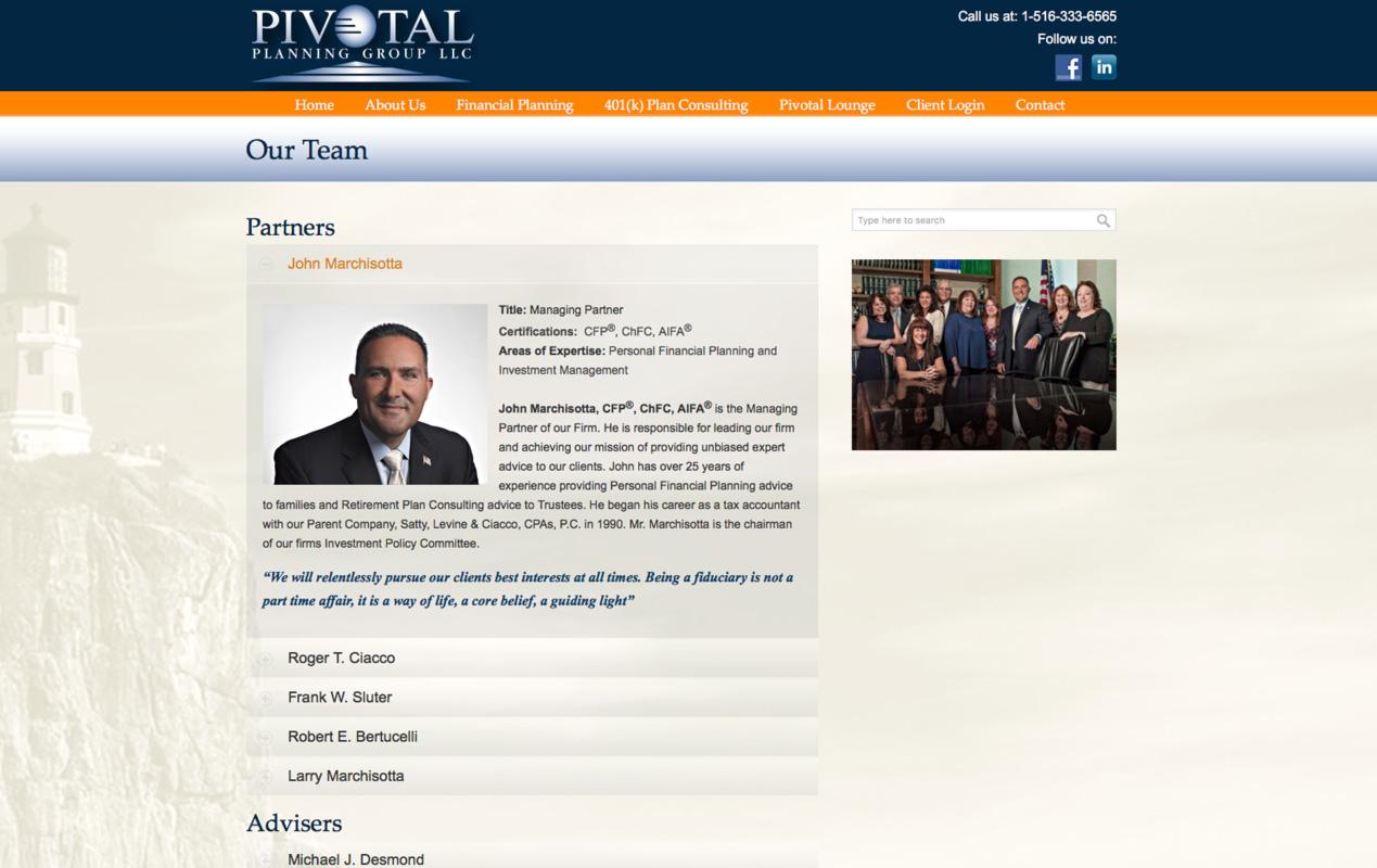 PivotalPlanning.com – Bio Page
