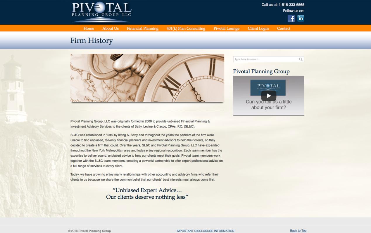PivotalPlanning.com – Company History