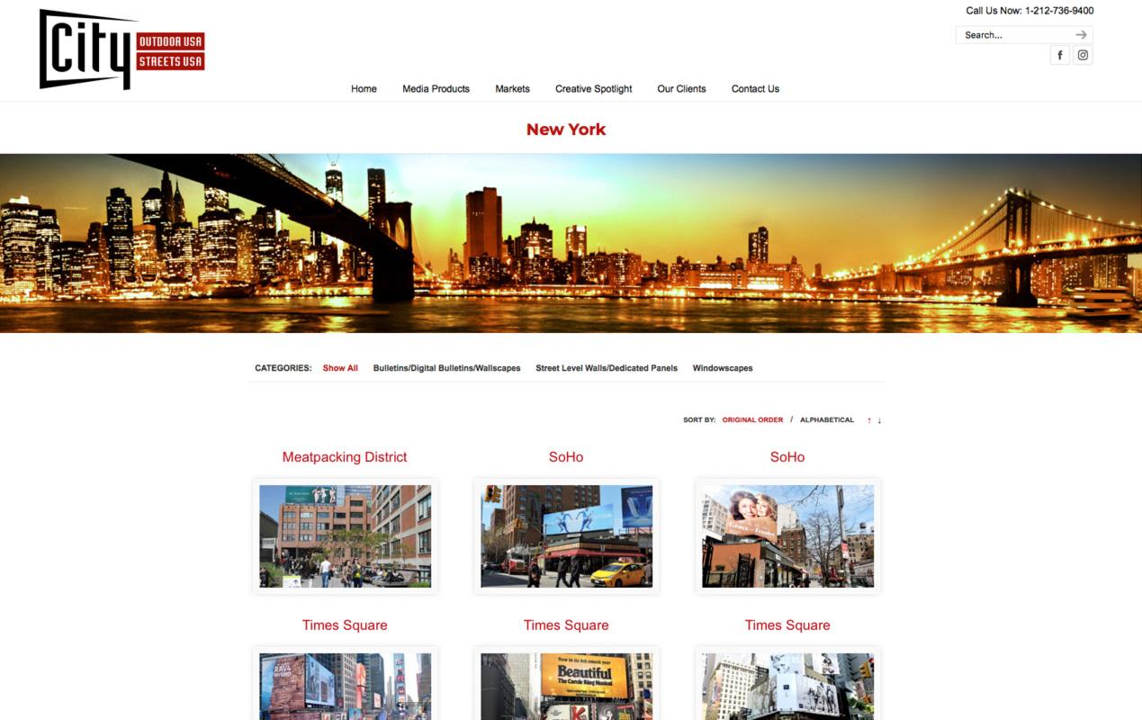 CityOutdoorUSA.com – Markets landing page